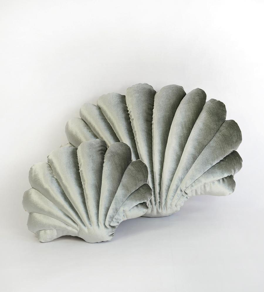 Shell Pillow in Sage Velvet - Small