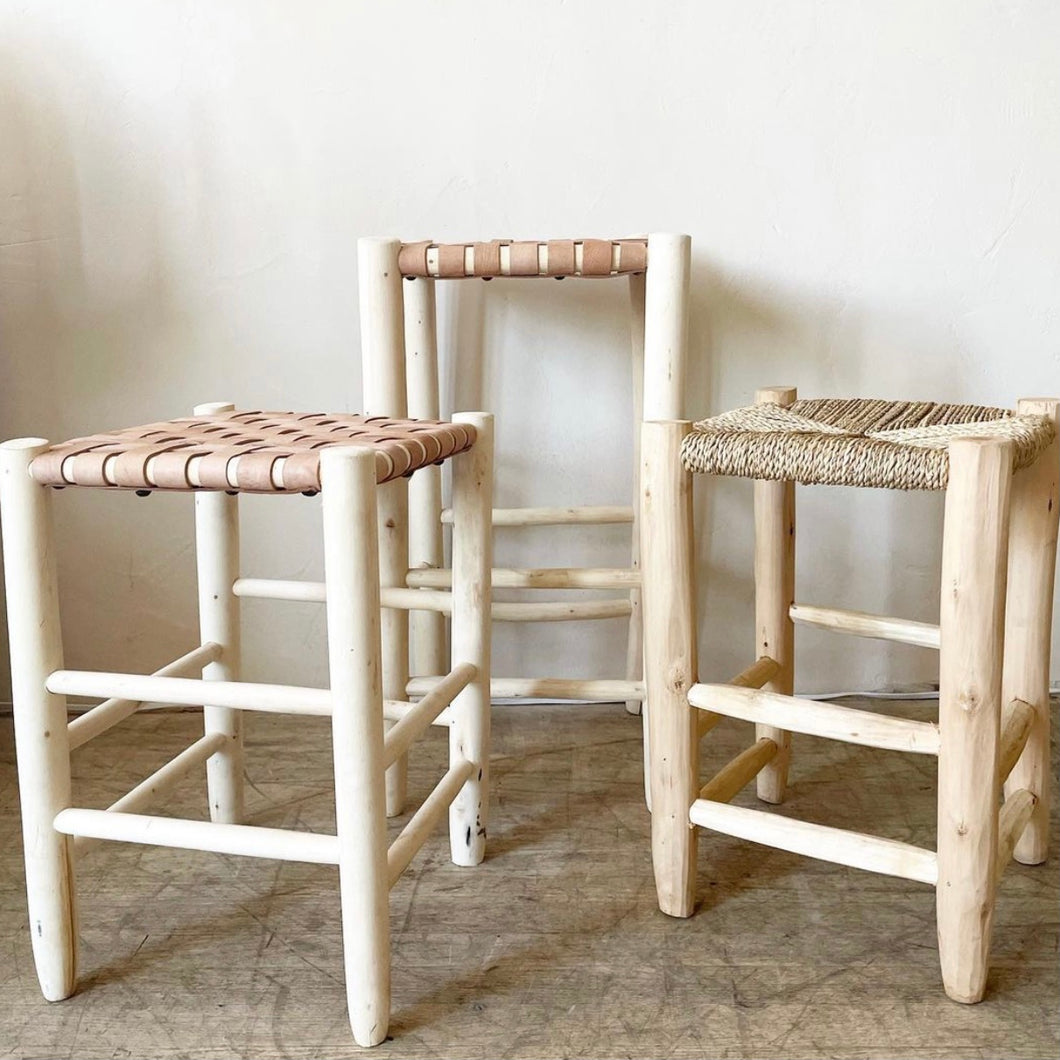 Moroccan Woven Leather Stool