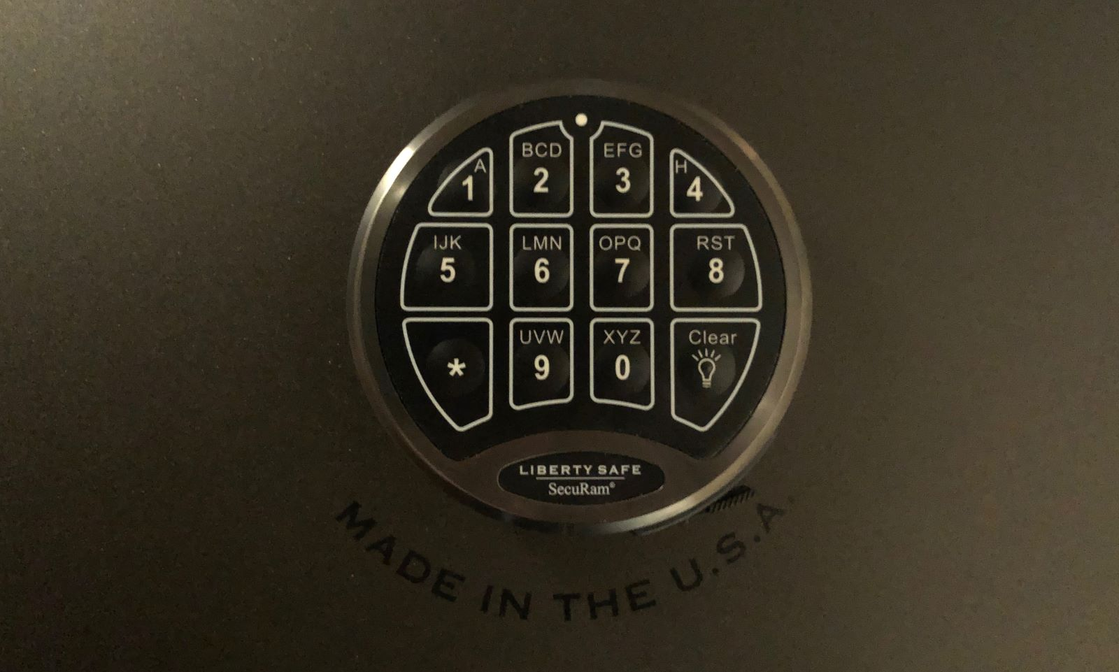 Securam Backlit Electronic Lock on a Liberty Safe