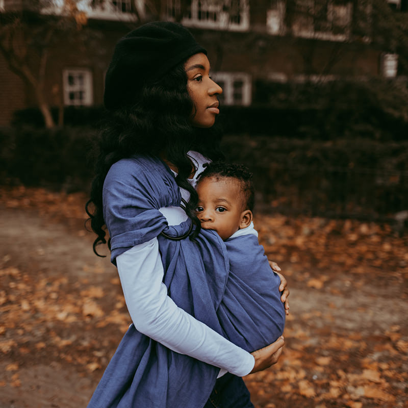 Walking through Fall and winter in her Sapphire Moon Ring Sling