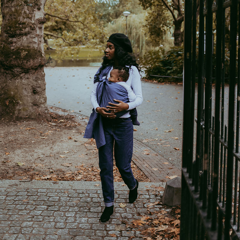 Casual fall walk in her Sapphire Moon Ring Sling
