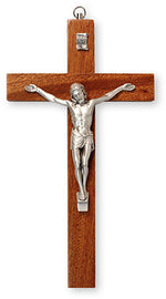 Mahogany Wood Hanging Crucifix 8"