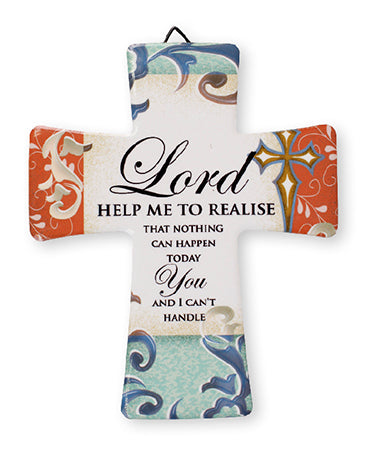 Porcelain Cross – Lord Help Me Realise | Crosses & Crucifixes | The Shrine Shop