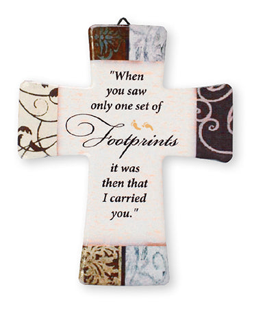 Porcelain Cross – Footprints | Crosses & Crucifixes | The Shrine Shop
