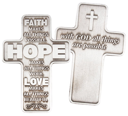 Metal Pocket Cross – Faith, Love, Hope | Crosses & Crucifixes | The Shrine Shop