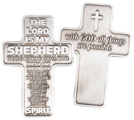 Metal Pocket Cross – The Lord is My Shepherd | Crosses & Crucifixes | The Shrine Shop