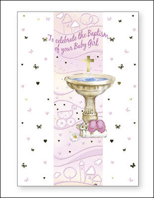 Card –  To Celebrate the Baptism of your Baby Girl | Greetings Cards & Stationery | The Shrine Shop