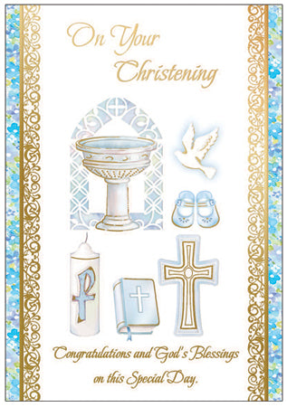 Card – On Your Christening Boy | Greetings Cards & Stationery | The Shrine Shop