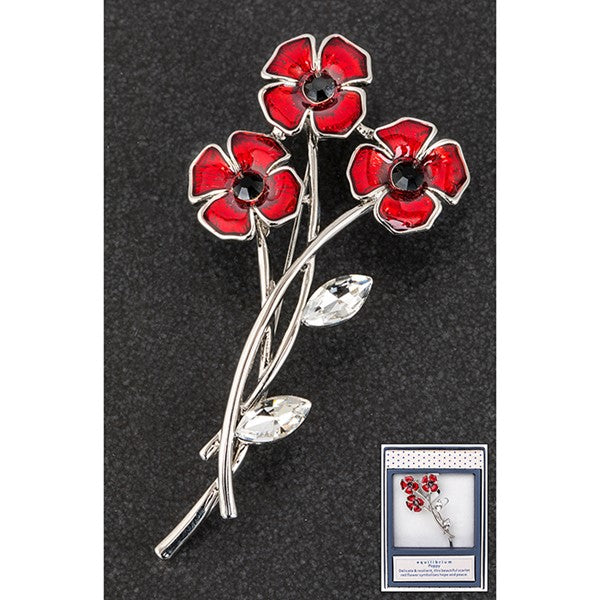3 Stem Poppy Brooch