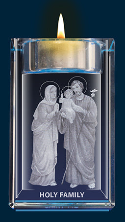 Holy Family Crystal Block with Candle | Statues & Icons | The Shrine Shop
