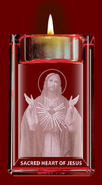 Sacred Heart of Jesus Crystal Block with Candle