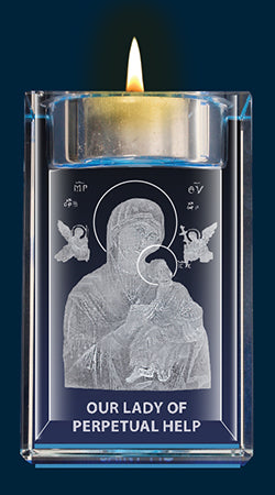 Perpetual Help Crystal Block with Candle