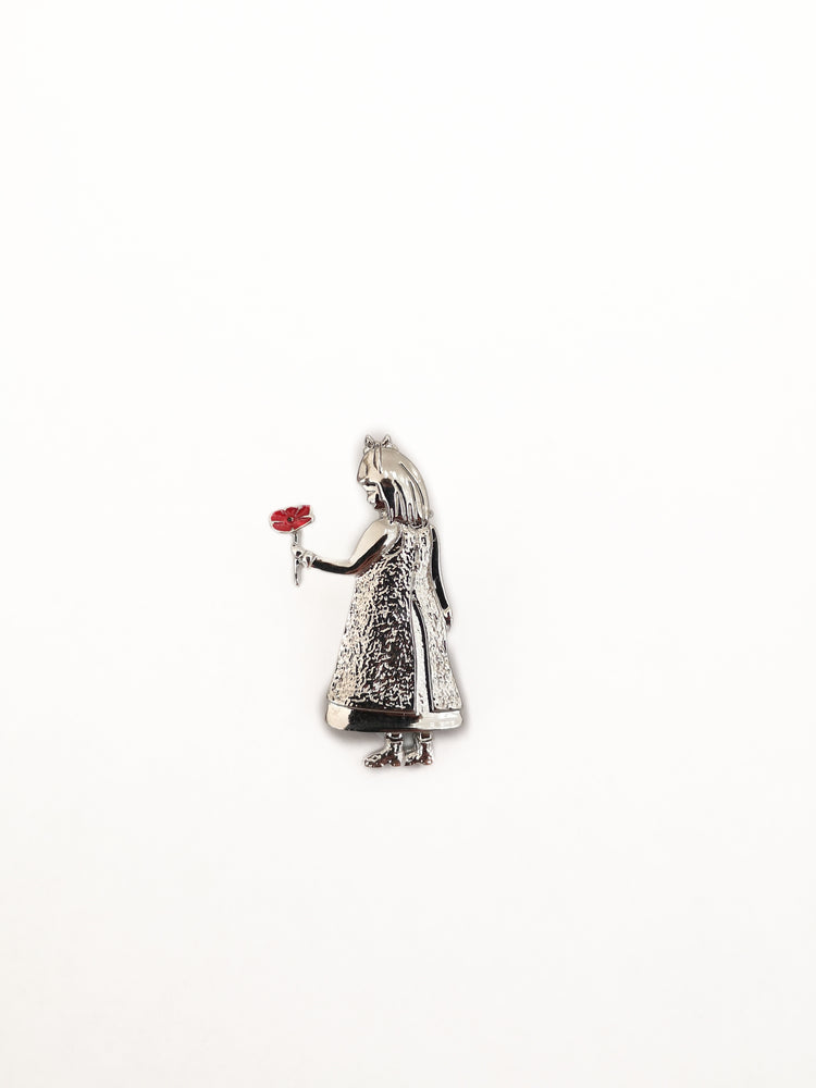Little Girl Holding Poppy Brooch