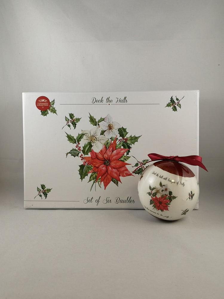 Holly Baubles – 6 In Gift Box | Seasonal | The Shrine Shop