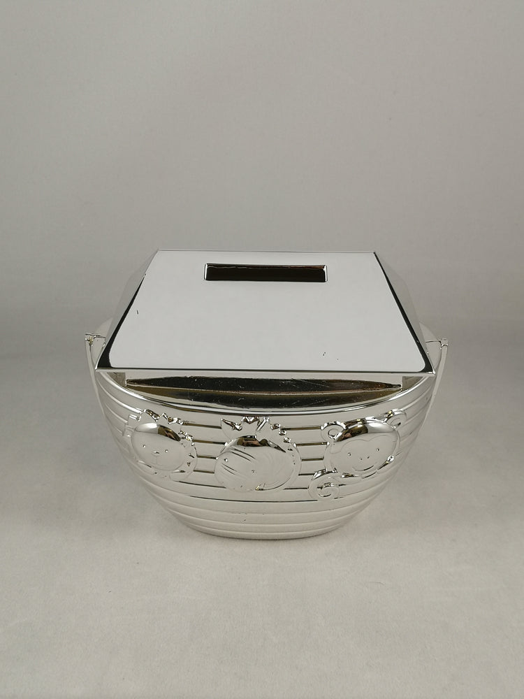 Silver Plated Noah's Ark Money Box