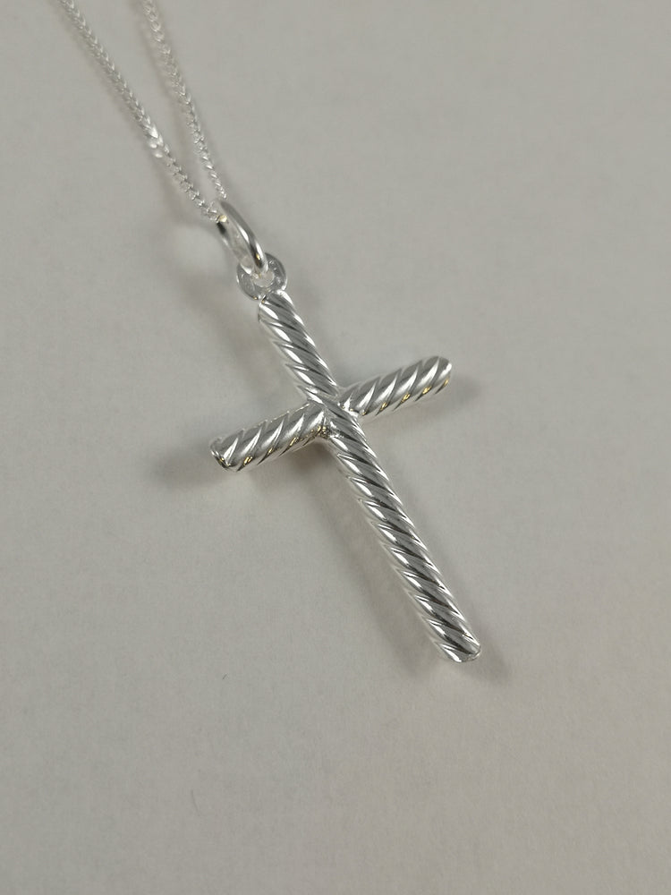 Sterling Silver Rope Effect Cross Necklace