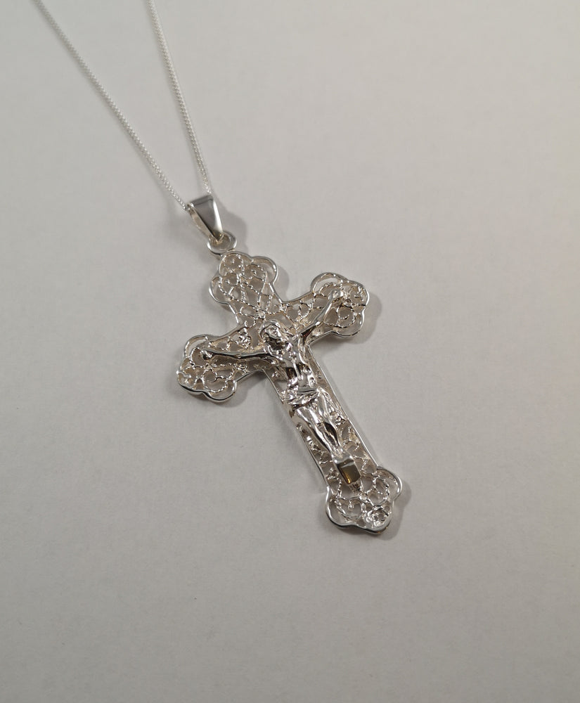 Sterling Silver Ornate Crucifix Necklace