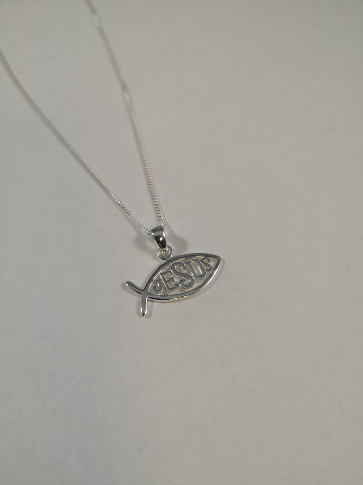 Sterling Silver Ichthus Fish Necklace