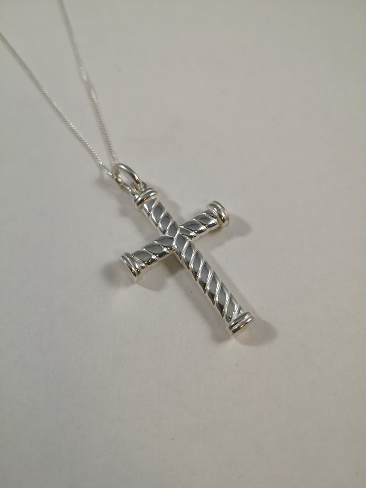 Sterling Silver Solid Rope Effect Cross Necklace