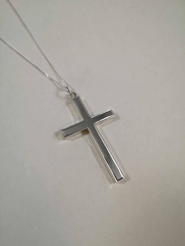 Sterling Silver Plain Large Cross Necklace | Jewellery & Medals | The Shrine Shop