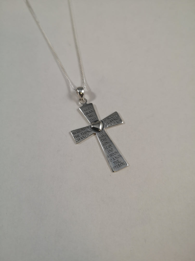 Sterling Silver Serenity Prayer Cross with Heart Necklace