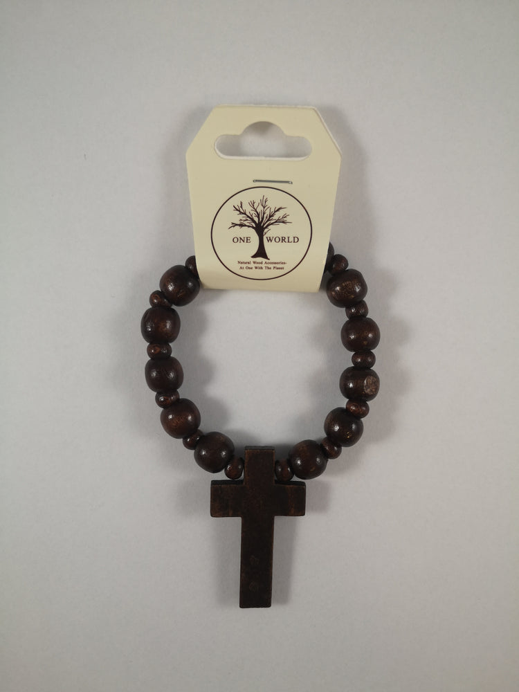 Wooden Beads with Cross Bracelet | Gifts | The Shrine Shop