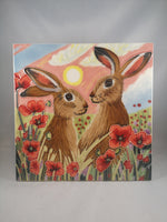 Hand Painted Ceramic Tile – Hares Sharing Sundown | Gifts | The Shrine Shop
