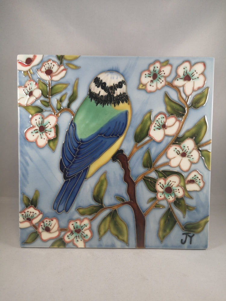Hand Painted Ceramic Tile – Blue Tit | Gifts | The Shrine Shop
