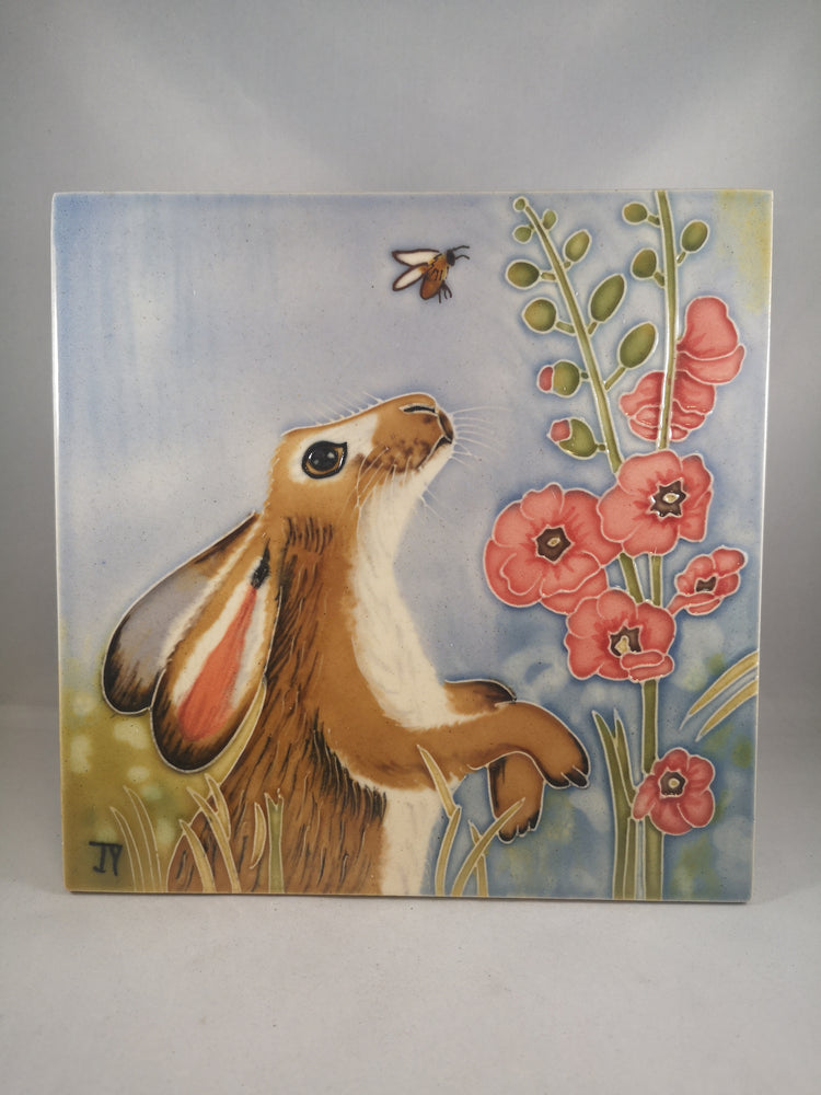 Hand Painted Ceramic Tile – Hare in Hollyhocks