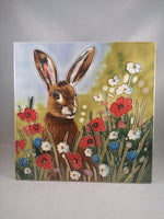 Hand Painted Ceramic Tile – Hare in Flowers