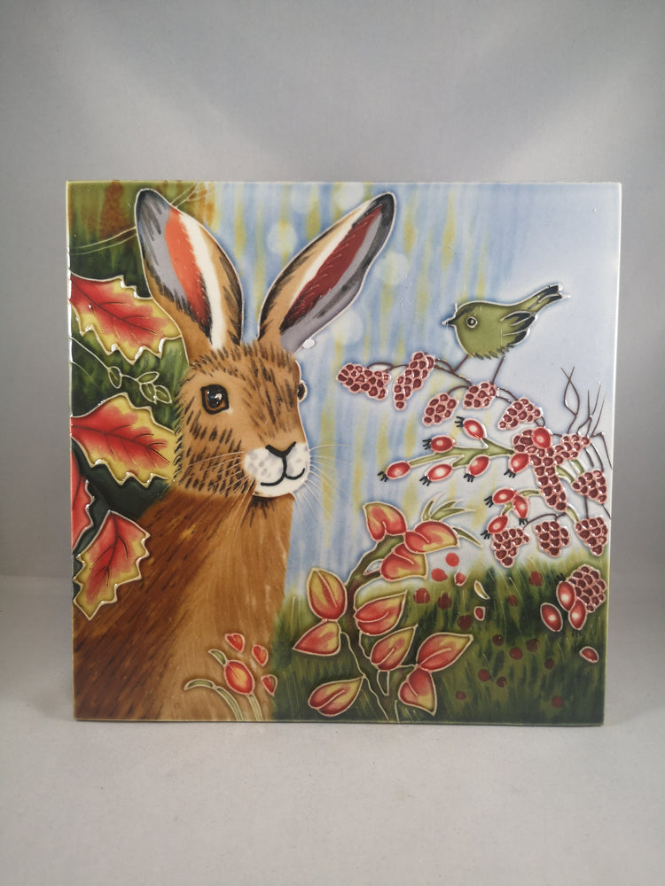 Hand Painted Ceramic Tile – Hare and Autumn Berry
