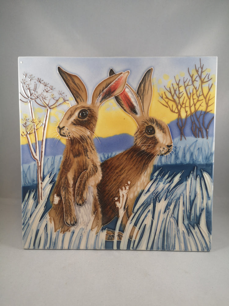 Hand Painted Ceramic Tile – Hares Bright New Day | Gifts | The Shrine Shop