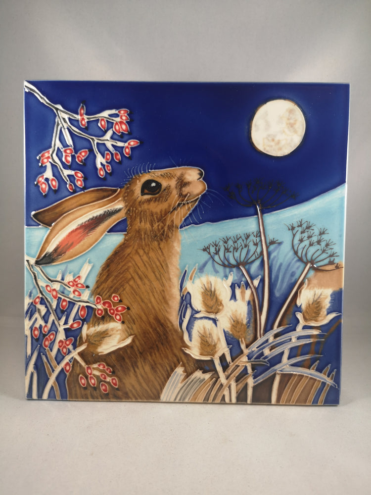 Hand Painted Ceramic Tile – Frost Moon Hare | Gifts | The Shrine Shop