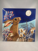 Hand Painted Ceramic Tile – Frost Moon Hare
