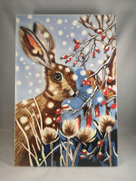 Hand Painted Ceramic Tile – Winter Hare