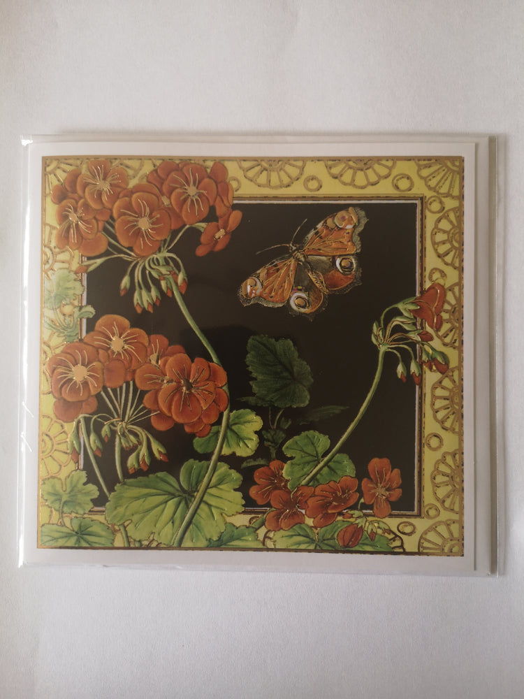 Card – Geranium and Peacock Butterfly