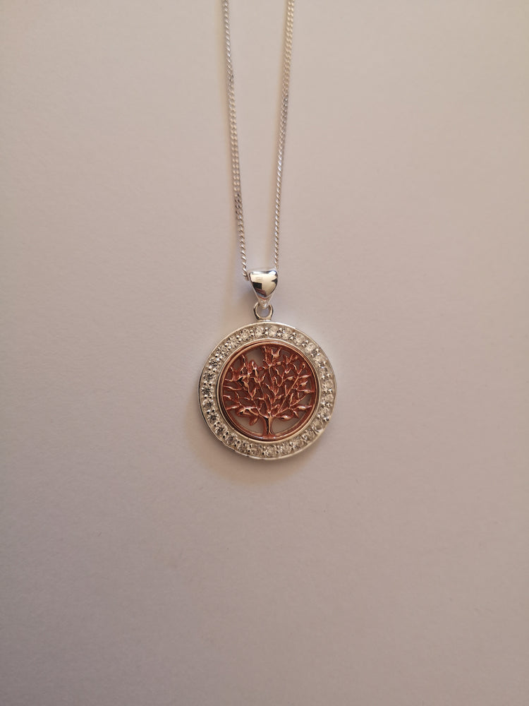 Sterling Silver and Rose Gold Tree of Life Necklace