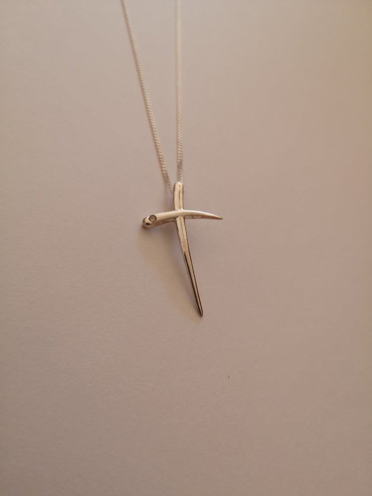 Sterling Silver Cross with Cubic Zirconia Necklace