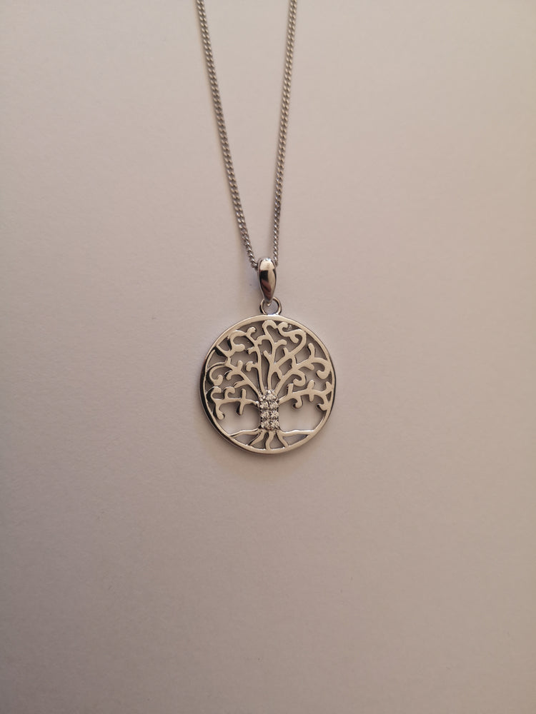 Sterling Silver Tree of Life with Cubic Zirconina Trunk Necklace