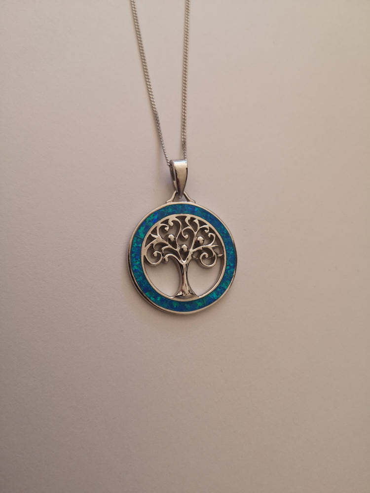 Sterling Silver Tree of Life Blue Opal Necklace | Jewellery & Medals | The Shrine Shop