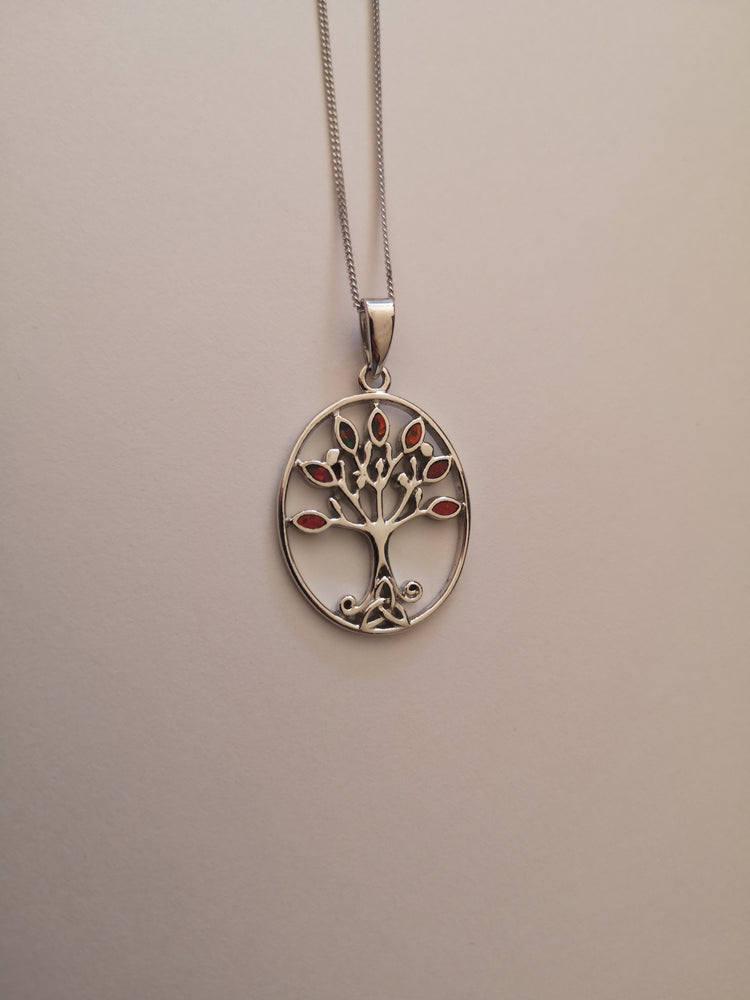 Sterling Silver Tree of Life Fire Opal Necklace