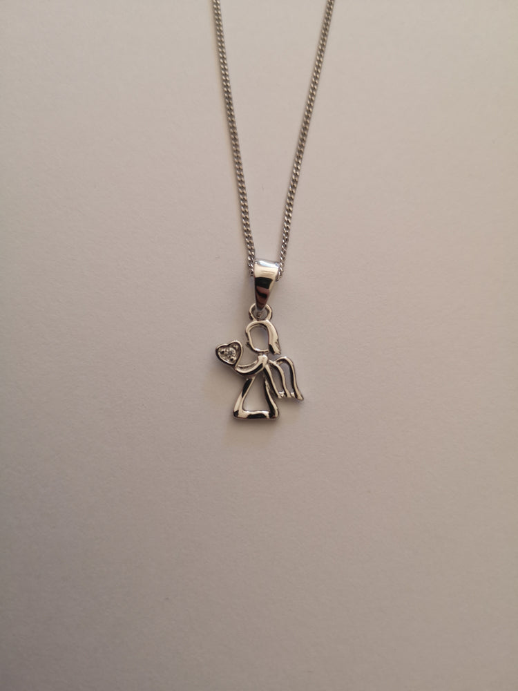 Sterling Silver Angel with Heart Necklace