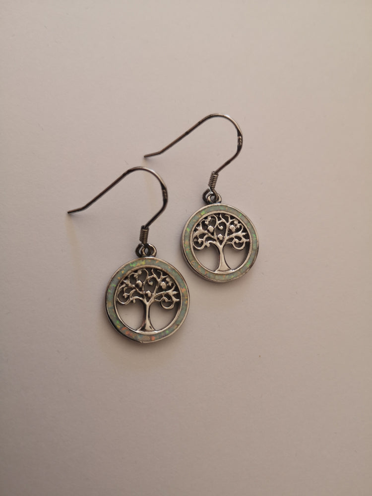 Sterling Silver Tree of Life Snow Opal Earrings | Jewellery & Medals | The Shrine Shop