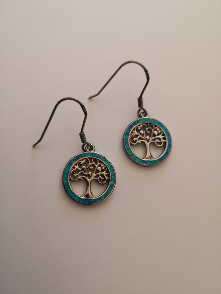Sterling Silver Tree of Life Blue Opal Earrings | Jewellery & Medals | The Shrine Shop