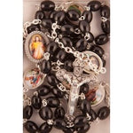 Black Oval Glass Bead Rosary | Rosaries & Prayer Cards | The Shrine Shop
