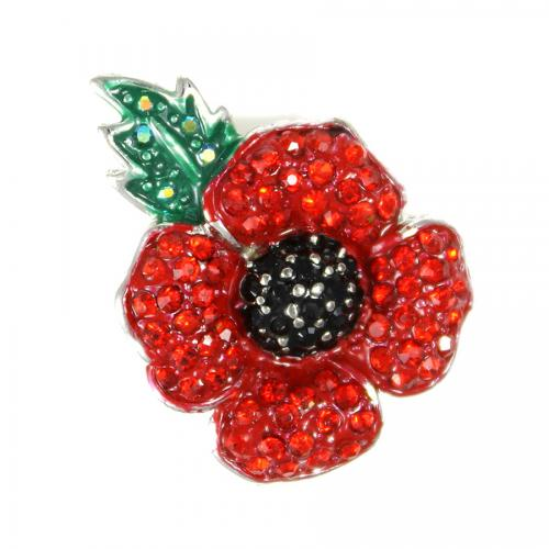 Poppy Brooch Small with Leaf 20mm - The Shrine Shop