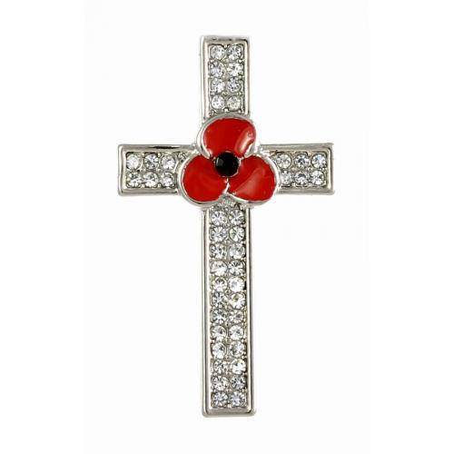 Poppy Cross Brooch 40mm - The Shrine Shop