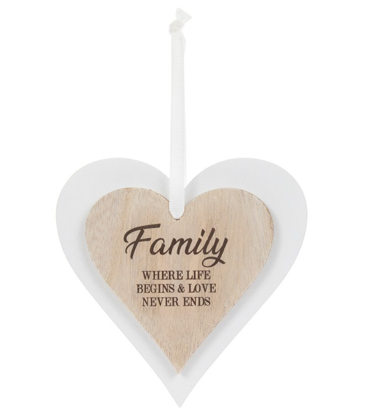 Wooden Heart Plaque – Family | Gifts | The Shrine Shop