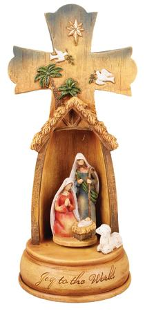 Nativity Cross Resin