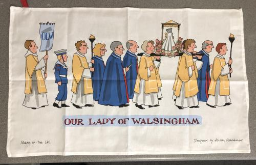 Our Lady of Walsingham Tea Towel, designed by Alison Gardiner